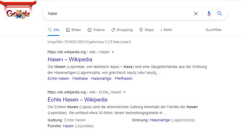 Google Suche Hase Keyword