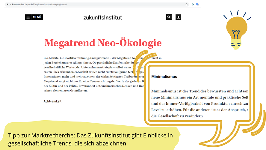 Screenshot der Webseite Zukunftsinstitut.de, Kapitel Megatrend Neu-Ökologie