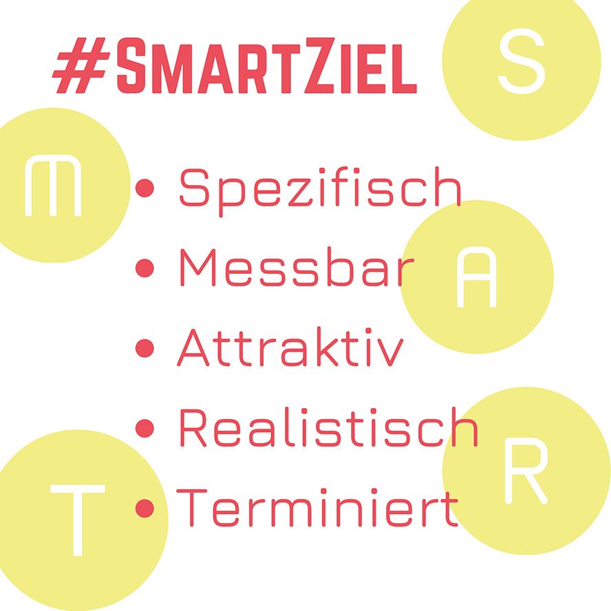 Screenshot Auflistung aller Smartziele: Spezifisch, Messbar, Attraktiv, Realistisch, Terminiert