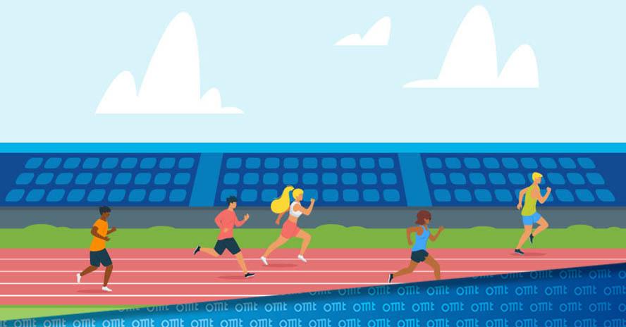 5 Läufer konkurrieren, um Sieg auf der Laufbahn