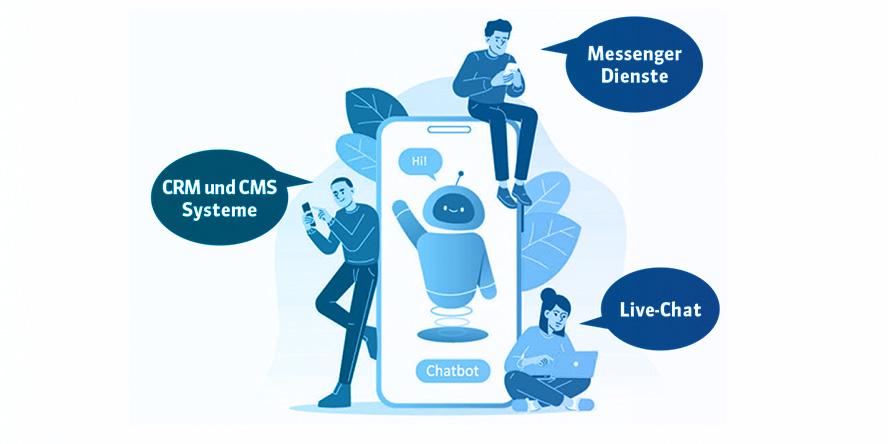 Screenshot zeigt die verschiedenen Plattfomen auf denen Chatbots eingesetzt werden können