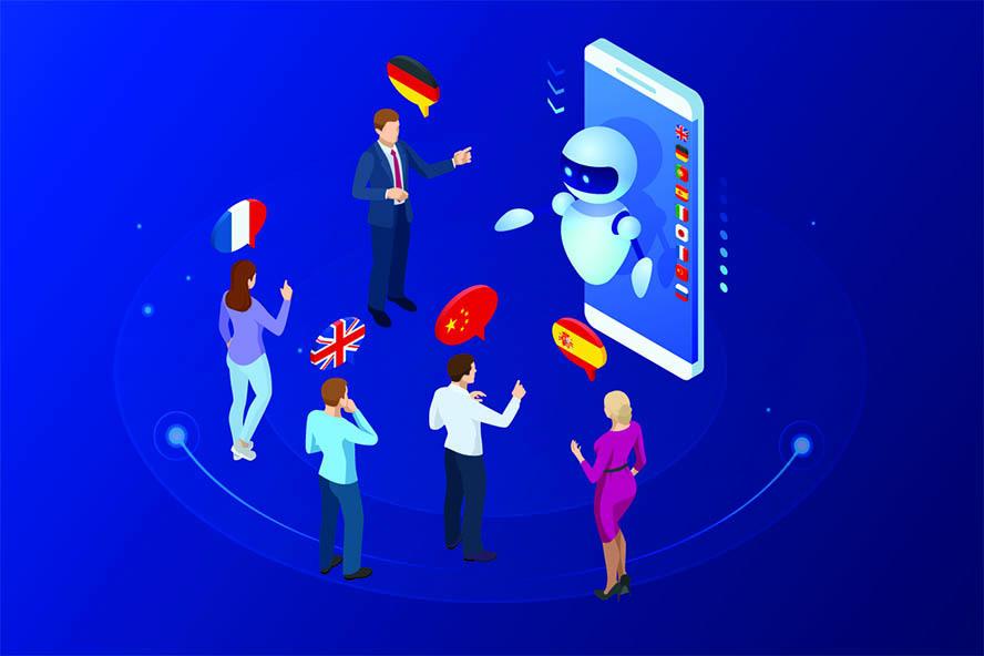 Grafik, Sprachen die von Chatbots unterstützt werden