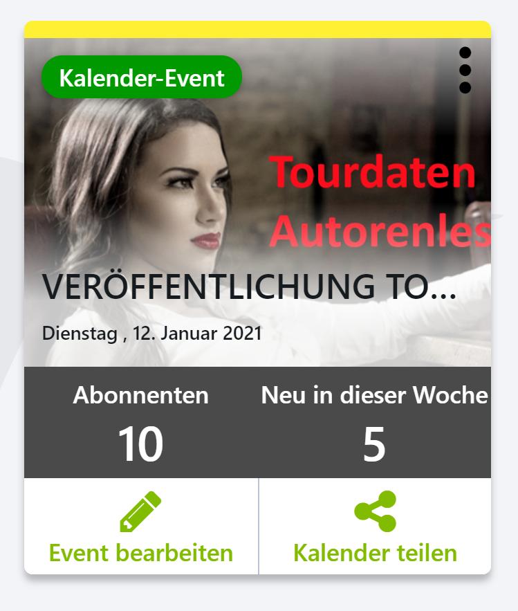 Jumpbird Kalender Event, Abonnenten; Neu in dieser Woche, Event bearbeiten; Kalender teilen