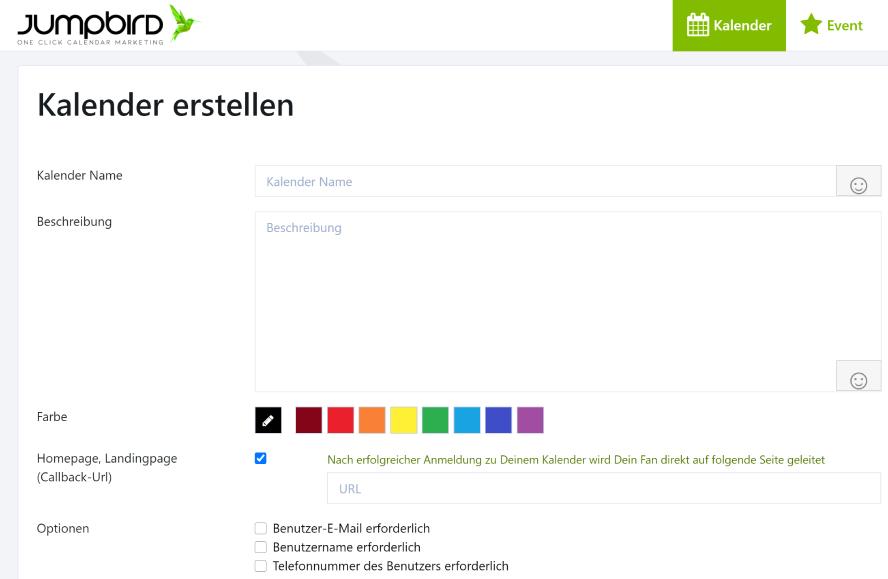 Kalender Name, Beschreibung, Farbe, Homepage, Optionen
