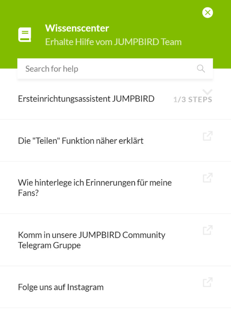 Das Jumpbird Wissenscenter gibt Antworten auf die dringlichsten Fragen rund um die Software