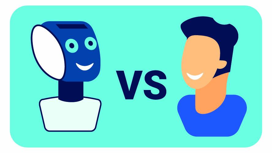 Grafik Mensch versus Chatbot