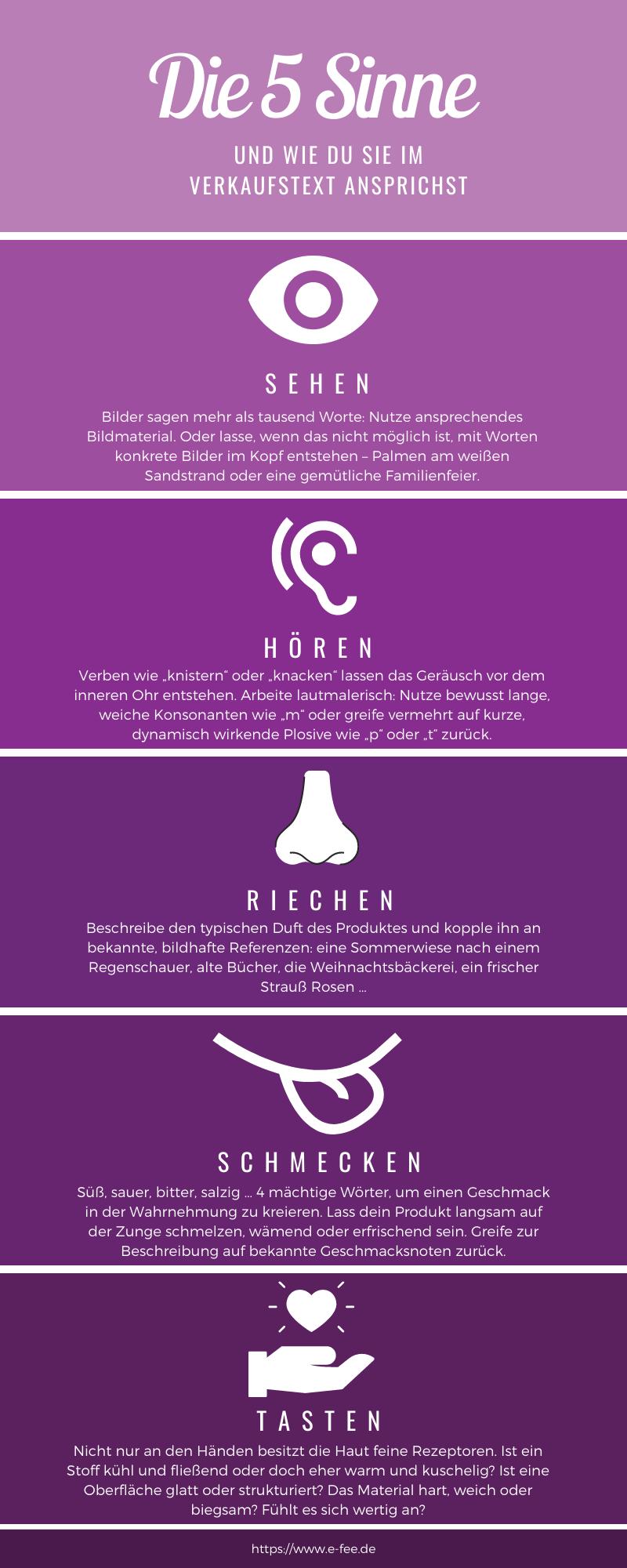 Die 5 Sinne und ihr Einsatz beim Verkaufstext