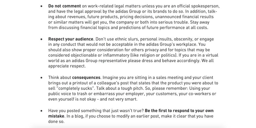 Ausschnitt des Adidas Code of Conduct für ihre Mitarbeiter