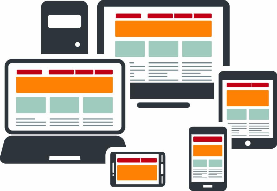 Mehrere Bildschirme unterschiedlicher neben- und übereinander angeordnet