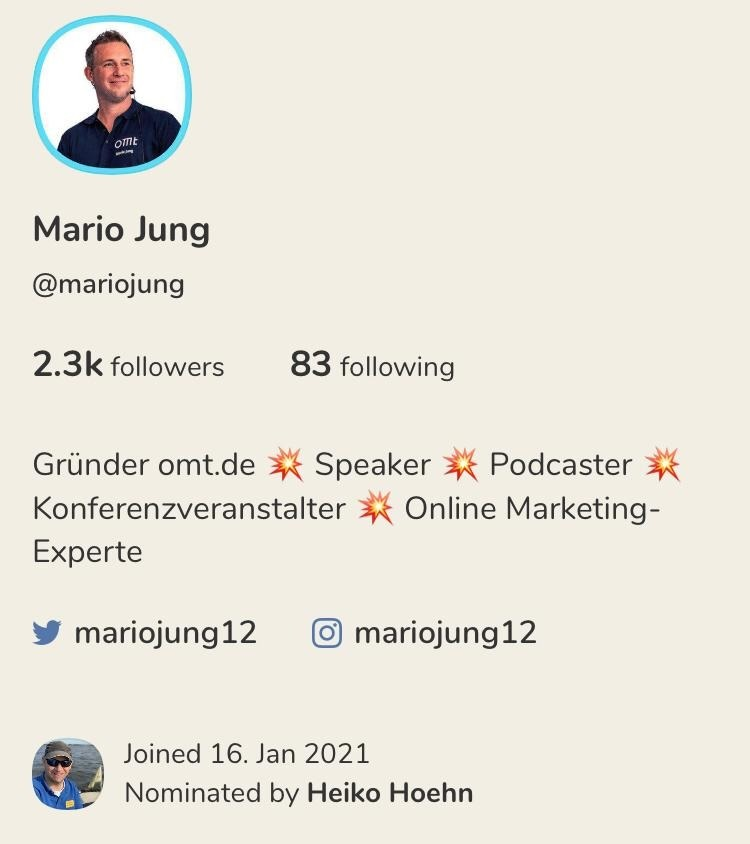 Clubhouse-Profil Mario Jung