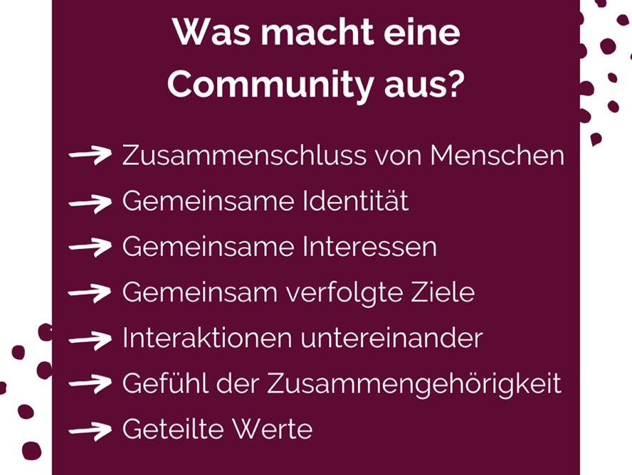 Auflistung: Was macht eine Community aus