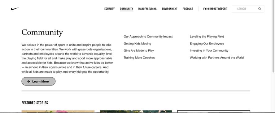 Button Community auf der Nike-Webseite