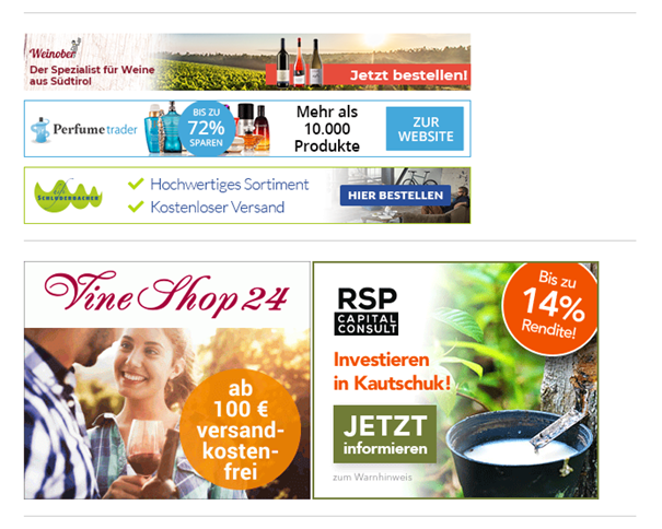 Werbebanner Affiliate-Marketing für Online-Shops