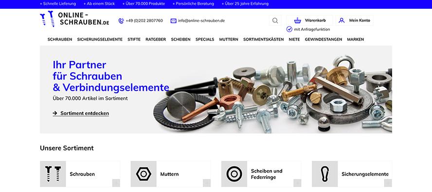 Unser Online Shop online-schrauben.de, bei dem ich viele meiner Learnings gewonnen habe