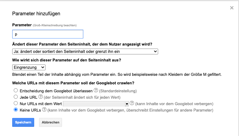 Parameter Google Search Console