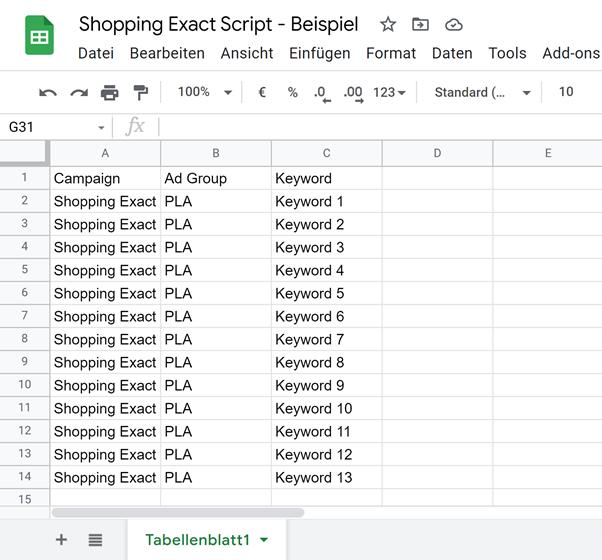 Shopping Exact Script Excelsheet