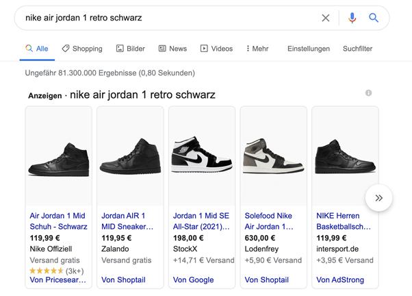 Google Shopping Anzeige Beispiel