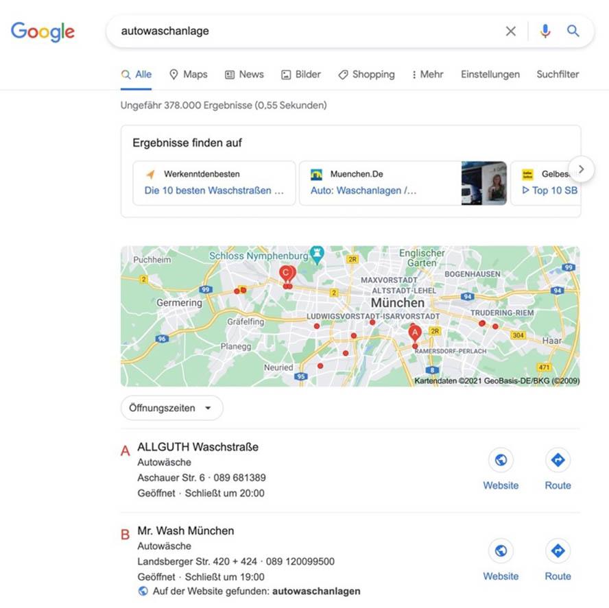 Autowaschanlage Google Local Pack