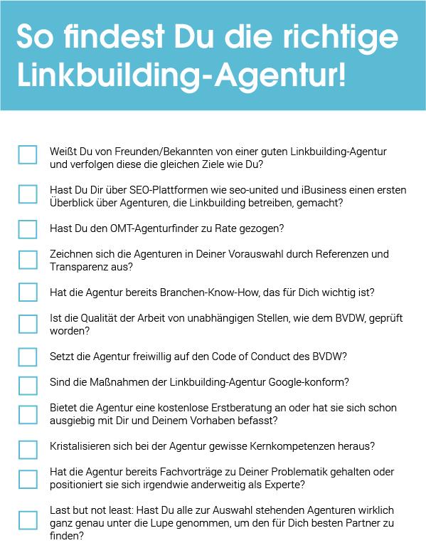 Checkliste Linkbuilding Agentur