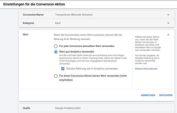 Conversion-Aktion Google Ads