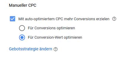 Einstellungen Gebotsstartegie Google Ads Kampagne