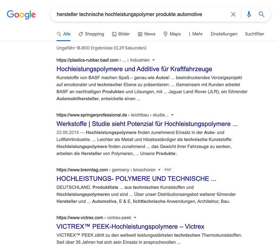 Google Longtail Keywordsuche