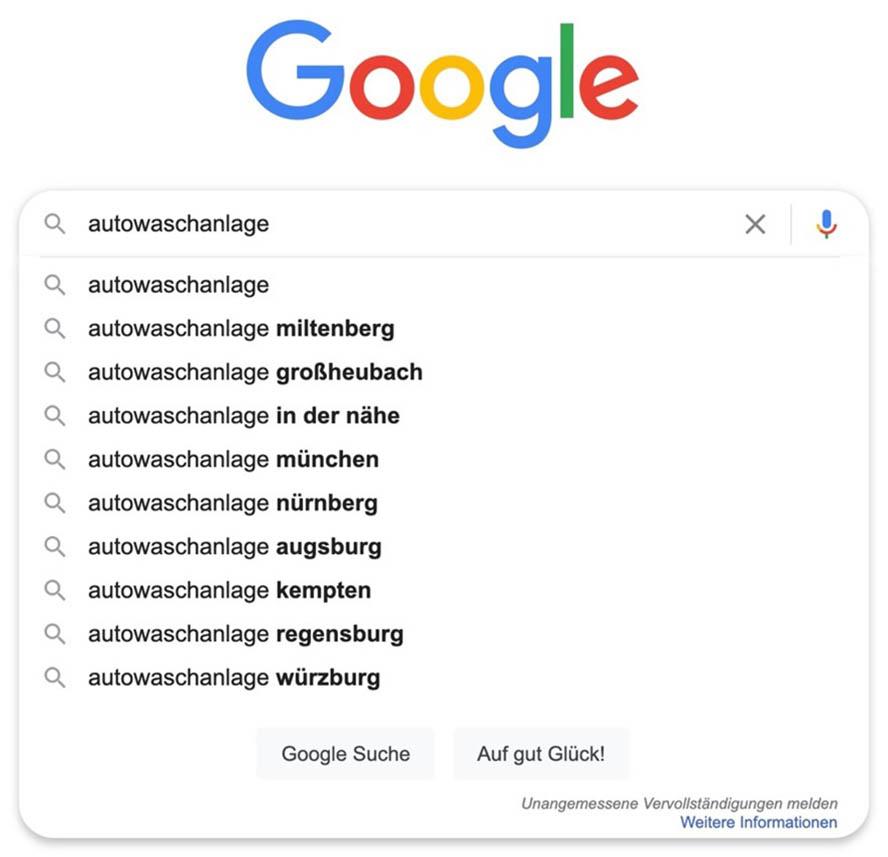 Google-Suche Autowaschanlage