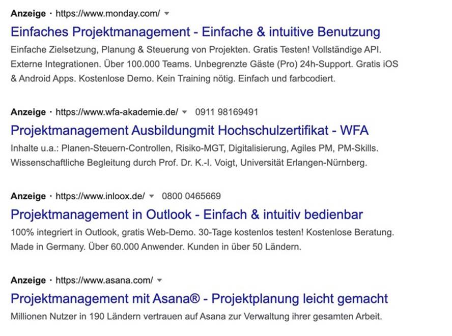 Projektmanagent Suchintention Google Ads