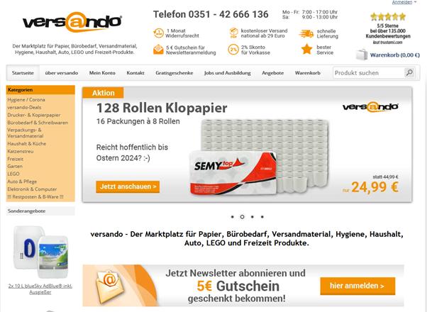 Startseite Online-Shop Versando