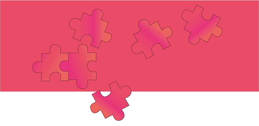 Teile wie Puzzle zu Social Media Anzeige zusammensetzen