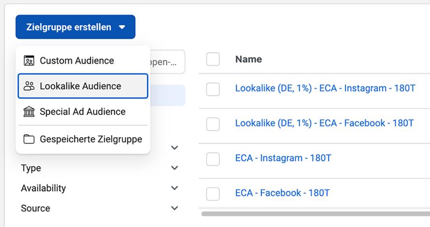 Custom Audience Facebook Werbenazeigenmanager