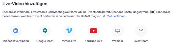 Auswahl des Dienstes für das Online-Event