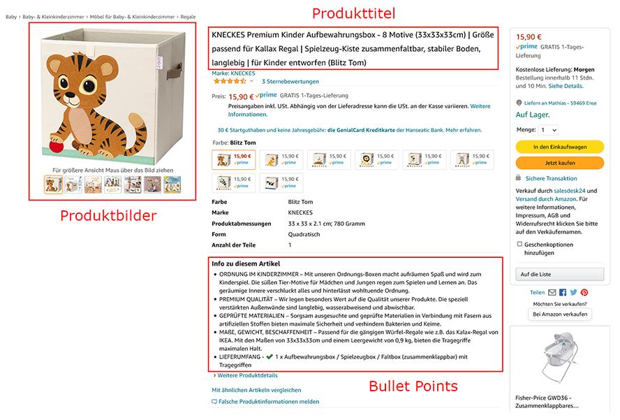 Die wichtigsten Bestandteile des Amazon Listings sind für den User direkt sichtbar, ohne scrollen zu müssen.