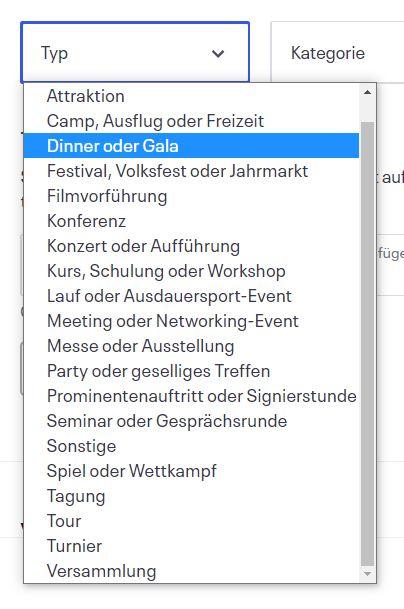 """Liste der Optionen unter """"Event-Typ"""""""