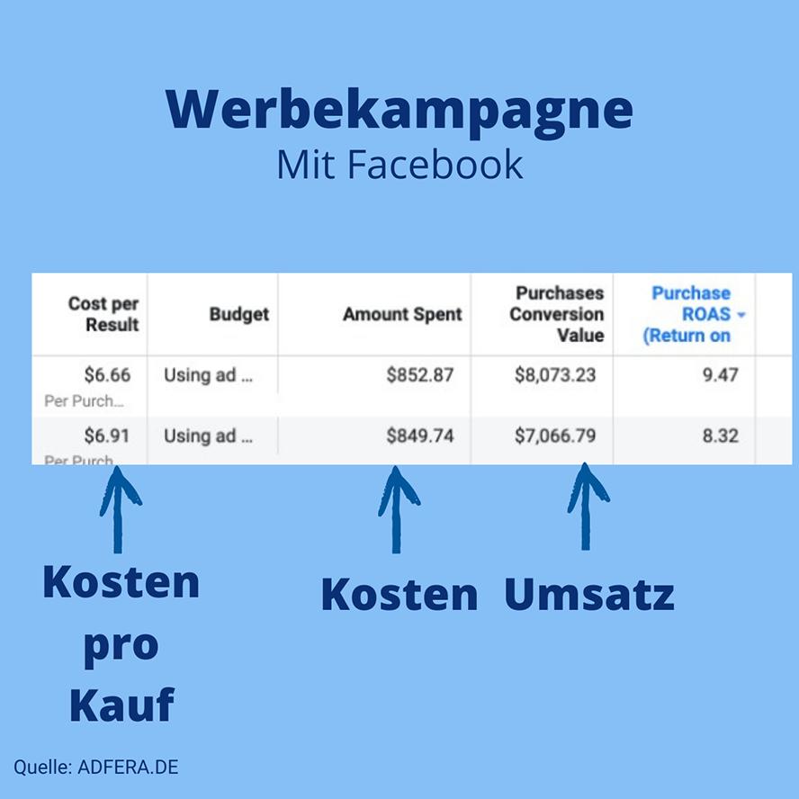 Facebook-Kampagne Ergebnisse