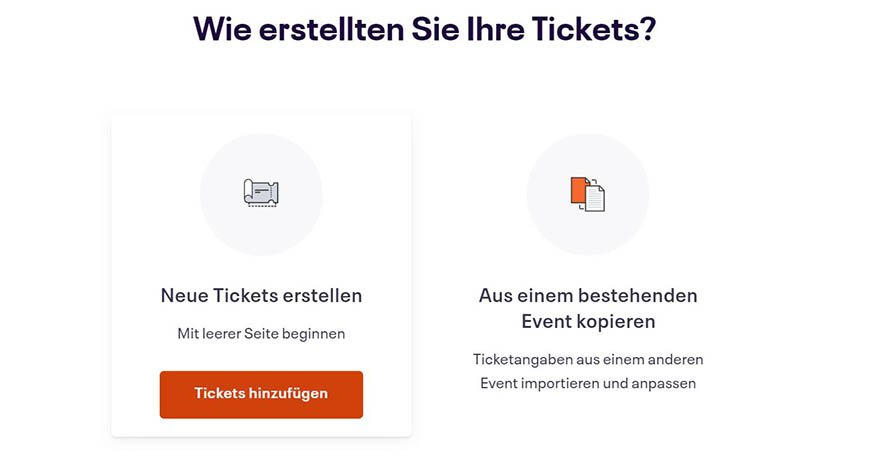 Auswahl zur Art der Ticketerstellung
