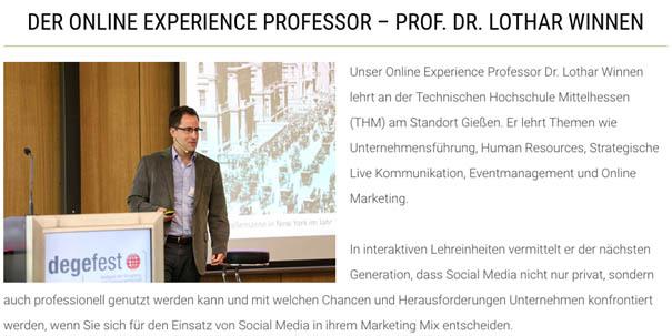 Online Experience Professor Prof. Dr. Lothar Winnen