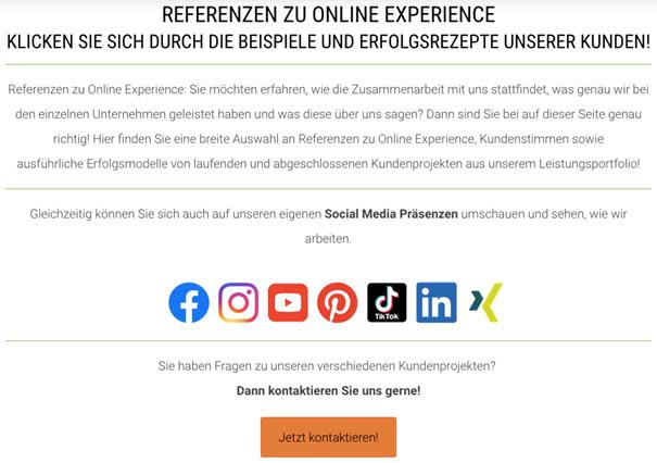 Online Experience Referenzen