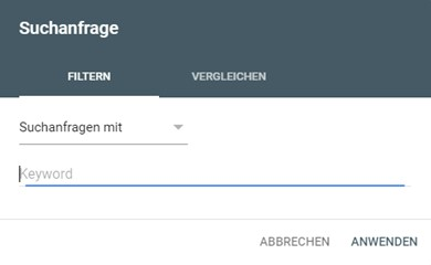 Google Search Console Suchanfrage Filter