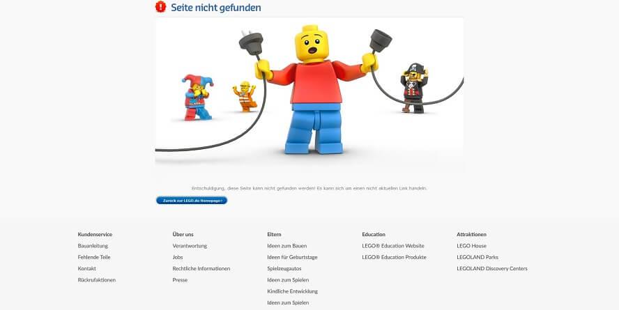 404-Seite von Lego inklusive Footer