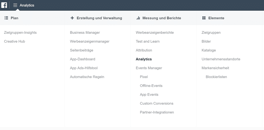 Business-Manager-Menü-Analytics