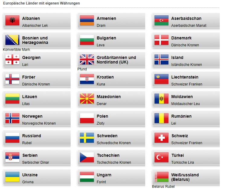 Die Währungen von Europa 1