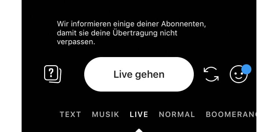 Instagram Live Video starten
