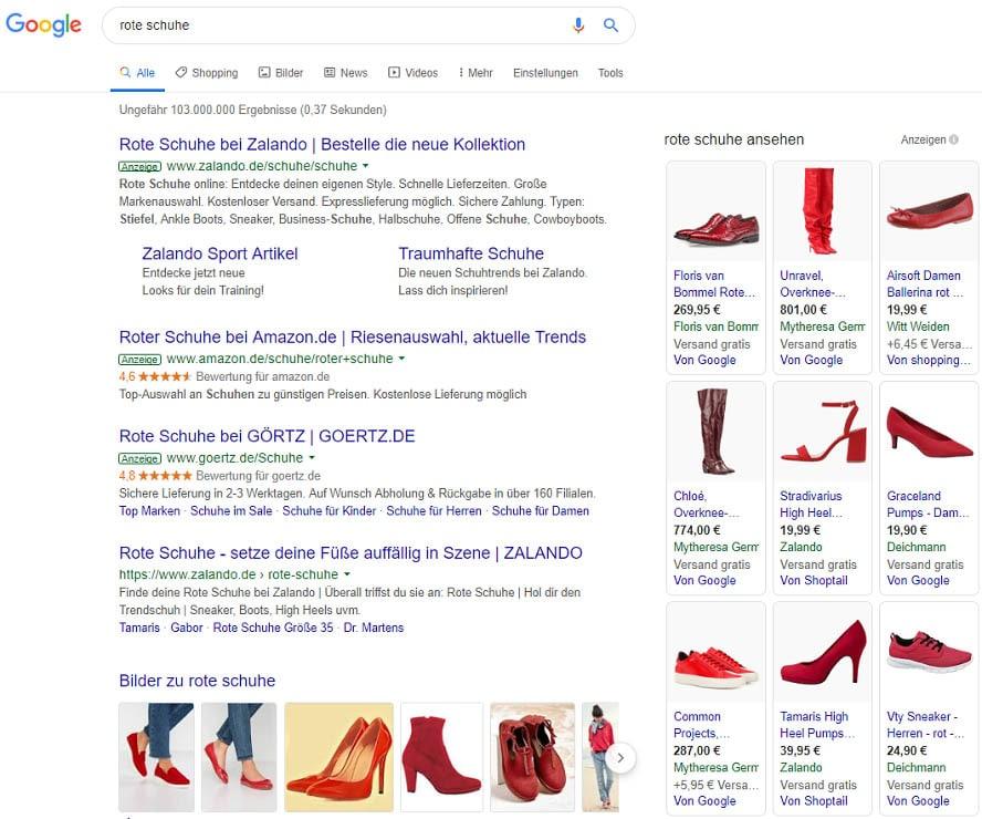 Quelle: Google. Shopping Ergebnisse auf dem Desktop.