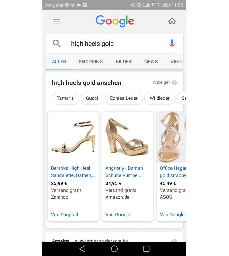 Quelle Google. Shopping Ergebnisse auf dem Smartphone