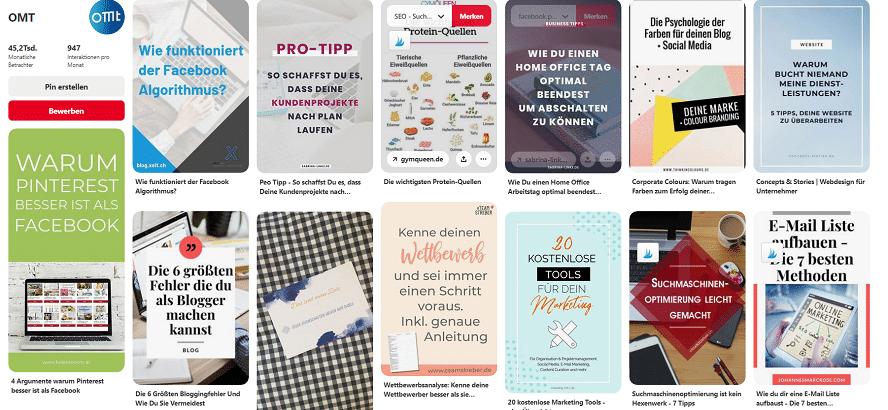 Pinterest stellt die Pins aus diesen drei Bereichen zusammen und zeigt sie in Deinem Feed an.