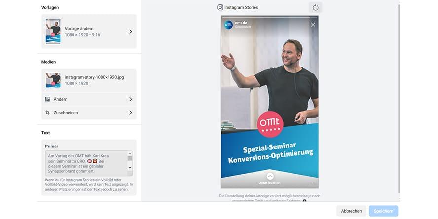 Screenshot aus dem Werbenanzeigenmanager (Asset Customization optimiert Ads für Platzierungen)