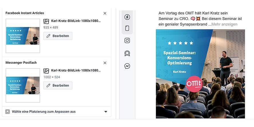Screenshot aus dem OMT-Werbekonto (Alt-Tag: Asset Customization verwenden)