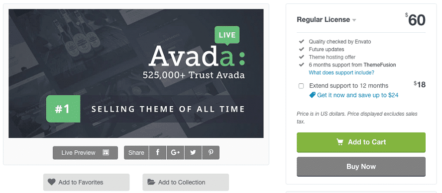 Screenshot der Landingpage von Avada bei ThemeForest