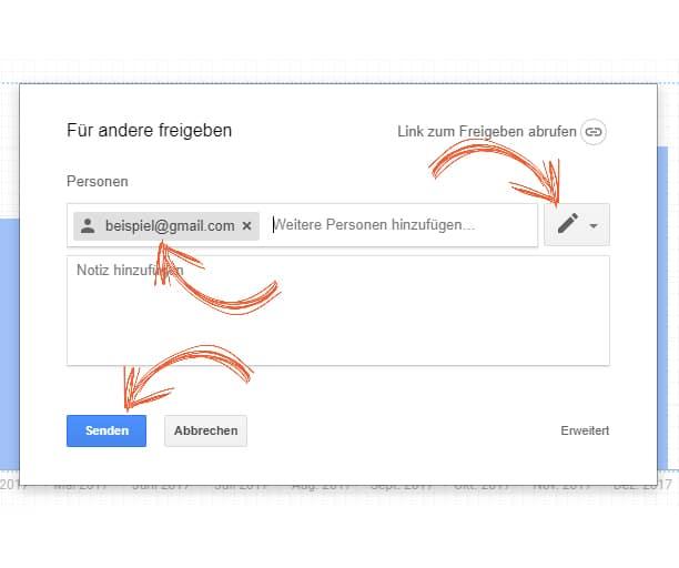 Den Google-Data-Studio Bericht mit anderen Personen teilen.